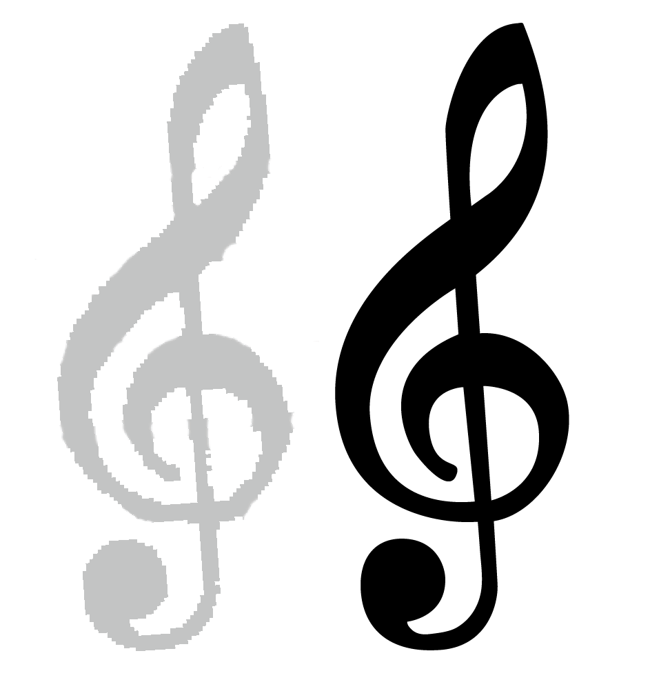 On the left, a scan of the Not-a-set G clef; on the right, a vector version.