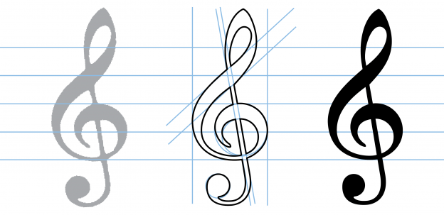 The G clef in Bravura, from original symbol to finished design