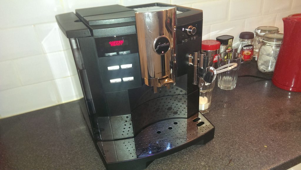 Our coffee machine, yesterday. It makes a great cup, but it's very needy.