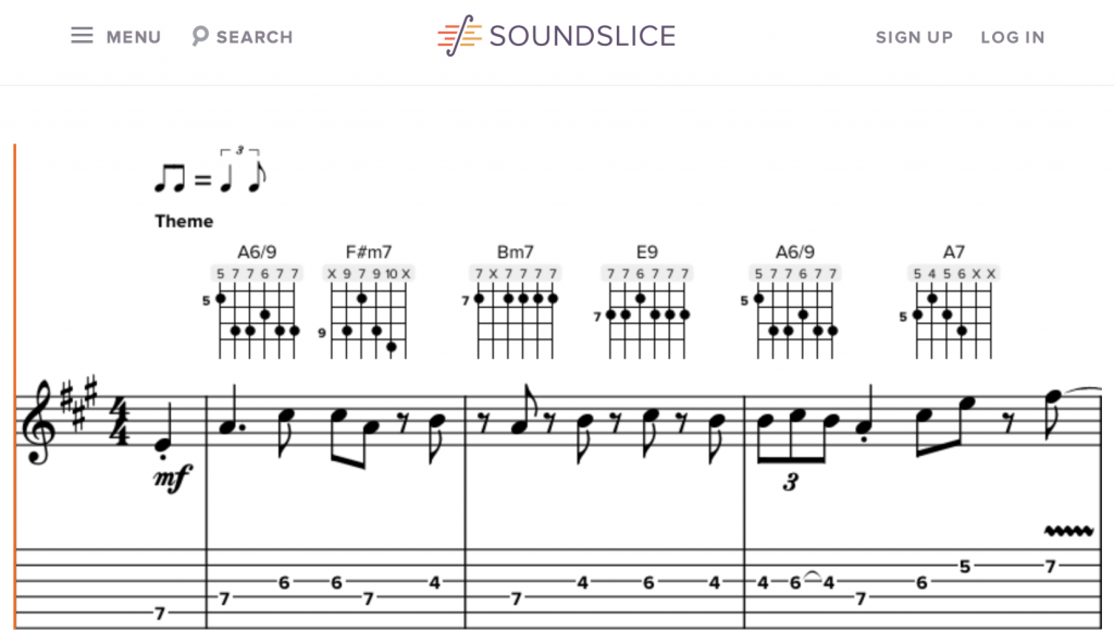 Bravura in use by Soundslice's score view.