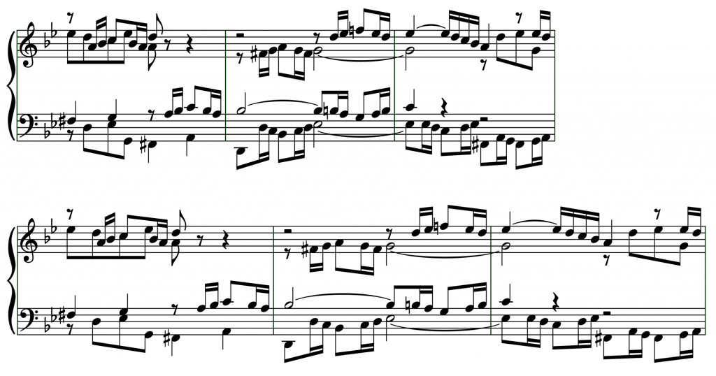 Bars 29–31 of BWV 861; above, justification disabled; below, justification enabled.