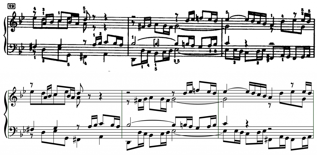 Bars 29–31 of BWV 861; above, an extract from the Edition Peters engraving, 1937; below, an extract from our in-development application.