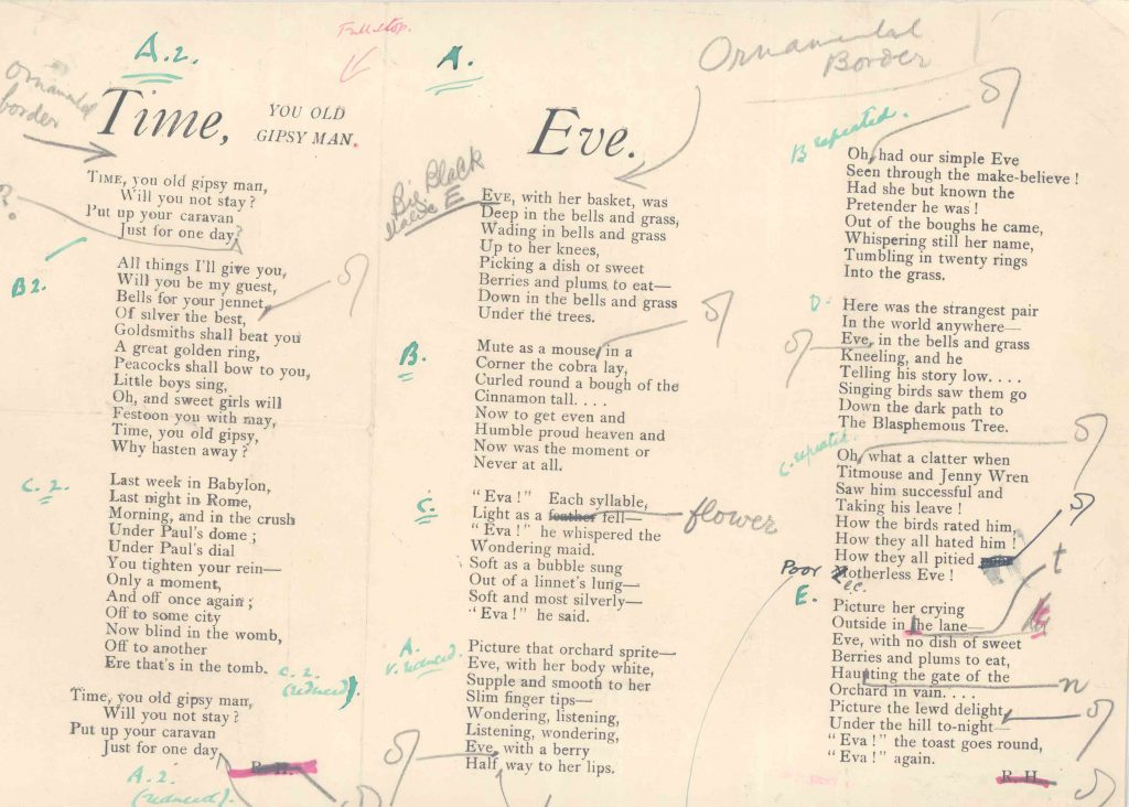 A galley proof of a poem by Ralph Hodgson. Image courtesy of the special collections at Bryn Mawr College Library.
