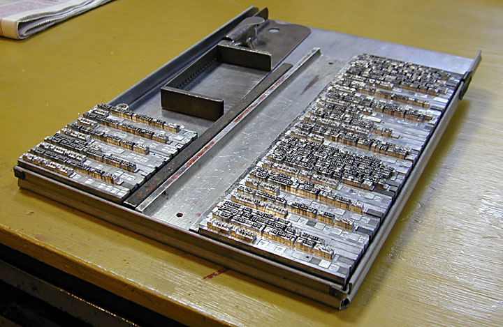 A galley full of type. Image courtesy of the Greyweather Press